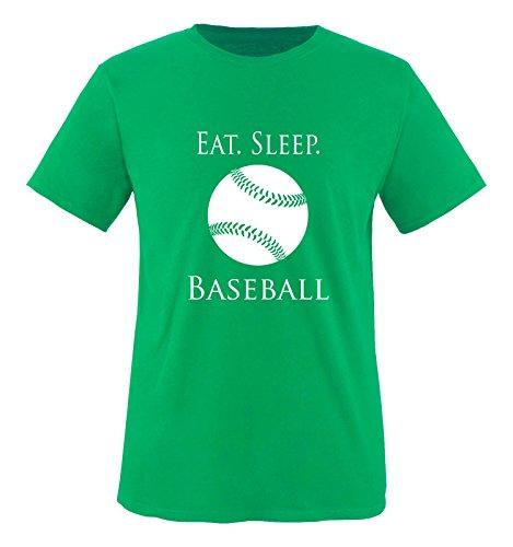 Comedy Shirts - EAT. Sleep. Baseball - Ball - Jungen T-Shirt - Grün/Weiss Gr. 152-164