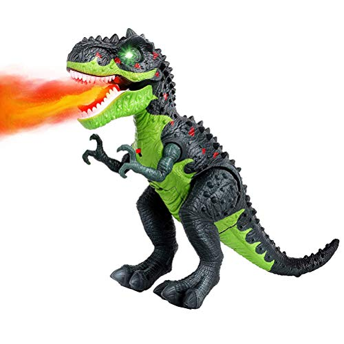 Holmeey Dinosaurio de juguete eléctrico con pulverizador de fuego realista de dinosaurio con sonido ruidoso, funciona con pilas, juguete de dinosaurio para niños