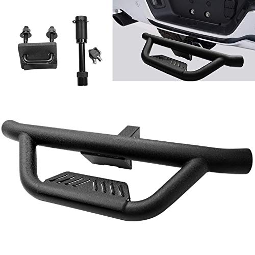 """Textured Black Universal Hitch Step bar Custom fit Vehicles with 2"""" Hitch Receiver Trailer Truck Towing Rear Bumper Guard (Incl Pin Lock and Stabilize)"""
