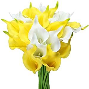 Tifuly 24pcs Calla Lily Bridal Wedding Bouquet Latex Real Touch Artificial Flowers Arrangement for Home Office Party Decor (Yellow and White)