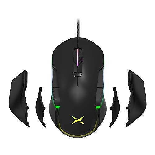 DELUX Ambidextrous Wired Gaming Mouse with 10000DPI, RGB Backlit, 8 Programmable Buttons and Personalized Side Wing and Weights Design, Right and Left Handed Gaming Mouse (M627S(3325)-Black)