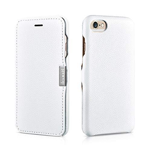 Icarer Cover in Pelle, per Apple iPhone 5 / 5S e iPhone 6, Apertura Laterale, ultraslim, in Vera Pelle Bianco Bianco - Pelle Liscia iPhone 6 (4,7'')