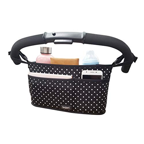 Stroller Organizer Caddy with Cup Holders and 3 Pockets - Universal Stroller Organizer Fits Any Stroller