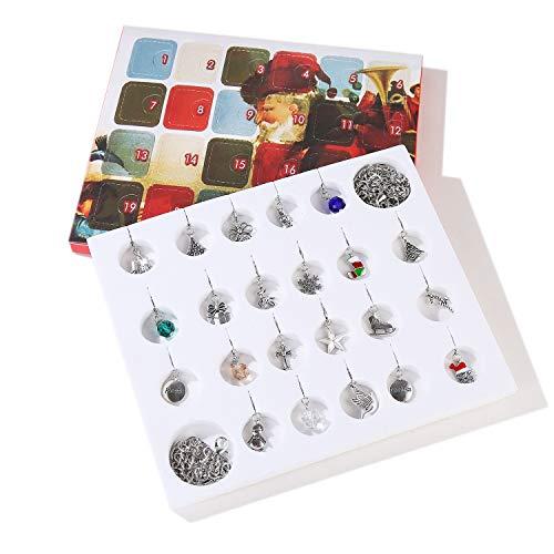 Beetest Feliz Navidad Adviento Charm Calendario con 22 unids Encantos para DIY Pulsera Collar Joyería Hacer Niños Niñas Mujeres Regalo Regalo
