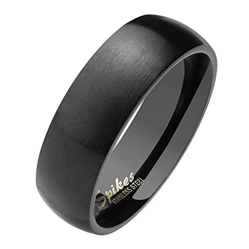 Mianova Herren Damen Band Ring Partnerring Edelstahl Verlobungsring Damenring Herrenring Matt Schwarz Größe 52 (16.6) Breit 6mm