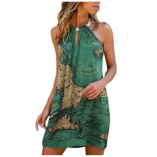 Halter Dresses for Women Club Cold Shoulder Dress for Women Summer Short Sleeve Metal Halter Dress Lace Floral Print