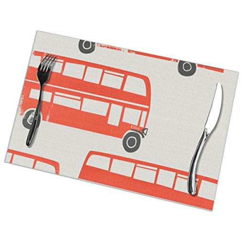 MrRui Table Mats Set of 6 Esstisch-Platzsets London Double Decker Buses Placemats for Dining Table Washable Table Mats 12x18 Inch
