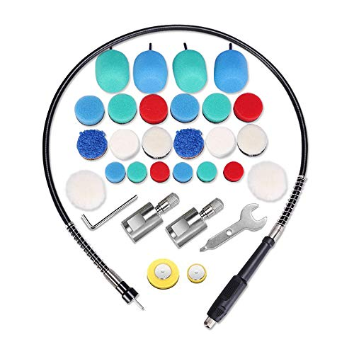 SPTA Mini Detail Polisher Shaft, Car Foam Drill Polishing Pad Kit with 5/8'&M14 Thread, Used on Rotary Tools/Polisher, Electric Drill for Metal Aluminum, Stainless Steel.