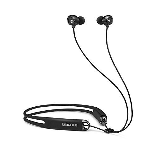 LEOPHILE EEL Wireless Neckband Headphones Sports IP67 Waterproof, Bluetooth 4.1 Stereo Headset with In-Ear Earbuds Earphones for RUNNING & WORKING - Black