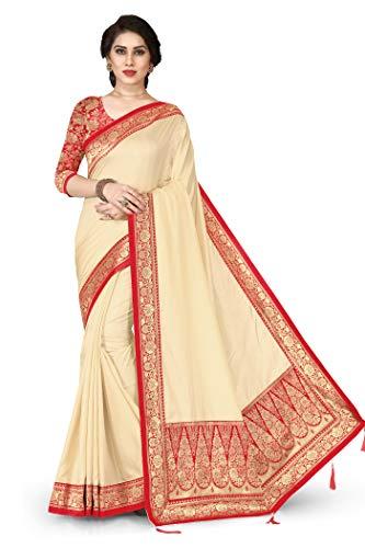 Sourbh Womne's New Cream Silk Blend Zari Motif Lace & Pallu Saree with Un-Stitched Blouse Piece