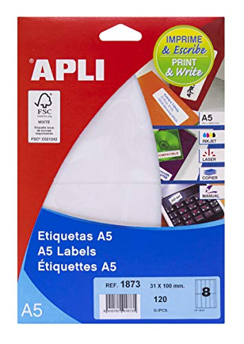 APLI 1873 - Etiquetas A5 blancas 31,0 x 100,0 mm 15 hojas