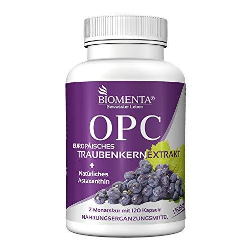 BIOMENTA OPC-Traubenkernextrakt + Natürliches Astaxanthin – vegan – 1.080 mg Traubenkernextrakt davon 756 mg OPC + 8 mg Astaxanthin - 120 OPC-Kapseln - 2 Monatskur