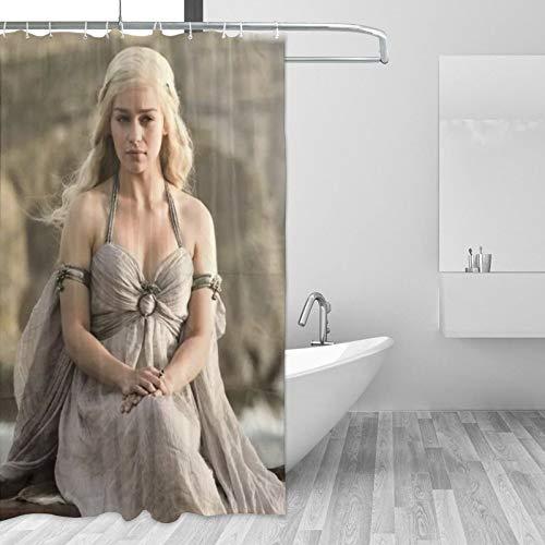 Juego Tronos cortina de ducha impermeable decoración del baño del hogar con 12 ganchos lavable poliéster 60x72 en