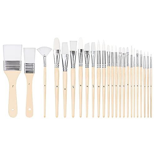 Amazon Basics - Juego de pinceles para pintar, 24 tamaños diferentes, para artistas, adultos y niños