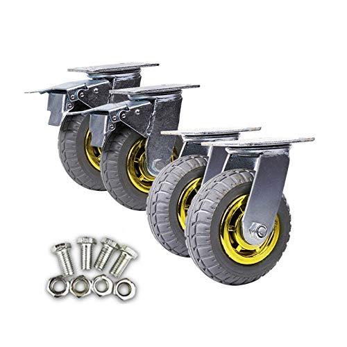 4 ruedas giratorias de 150 mm de alta resistencia, ruedas giratorias de 1000 kg de carga, 2 con ruedas de freno para carritos, bancos de trabajo móviles, muebles, taller, almacén industrial
