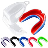 Vanmor 6 Pack Youth Mouth Guard Sports Mouthguard for Kids Double Colored Teeth Protector with Transparent Box for Football Basketball Boxing MMA Hockey