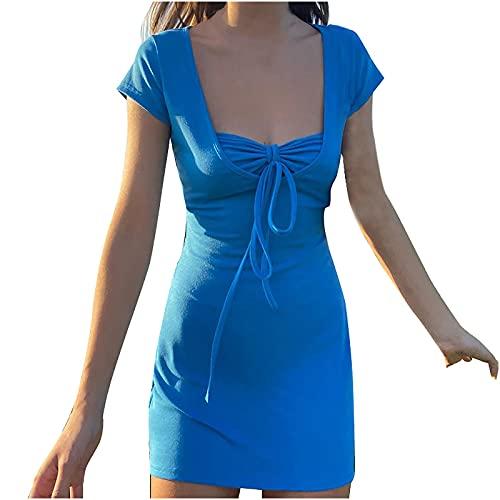 AMhomely Vestido de verano para mujer, elegante, sexy, sin mangas, con cuello en V, con vendaje impreso, elegante, vintage, étnico, vestido suelto, talla Reino Unido