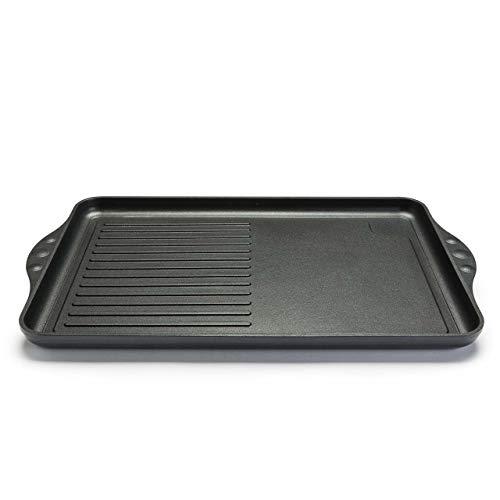 NOWA Aluguss Grillplatte, LxBxH 43x28x2 cm, backofenfest bis 300 °C, Antihaft beschichtet, Induktion, Made in Germany, für alle Herdarten, PFOA frei