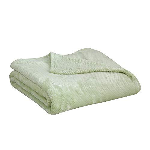 SOCHOW Flanell Fleecedecke, Waffelmuster (127 x 150 cm, Grün) – weich, leicht, warm und gemütlich