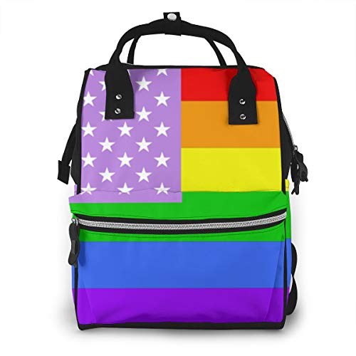 Light American Flag Rainbow Gay Baby Diaper Bag Backpack,Multi-Function Waterproof Large Capacity Travel Nappy Bags For Mom