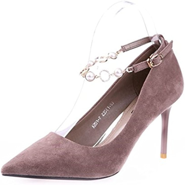 MDRW-Lady Elegant Arbeit Freizeit Feder Meine Damen Punkt Veloursleder Fein Mit High Heels 9 Cm Ein Einzelner Diamant Buckle Schuhe Schuhe Khaki