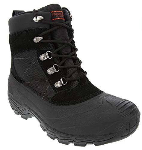 LONDON FOG Mens Woodside Waterproof and Insulated Cold Weather Snow Boot Black 9