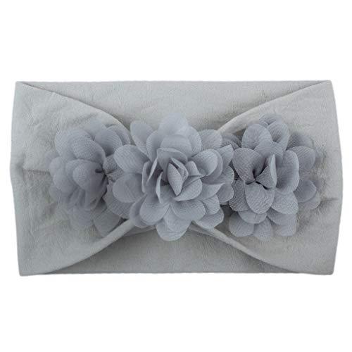 Alikey meisjes baby kinderen turban haarband solide haarband bloem accessoires hoofdbescherming meisjes met bloemen strass elastisch kapsel voor verjaardag fotografie kleur 30 * 9cm G