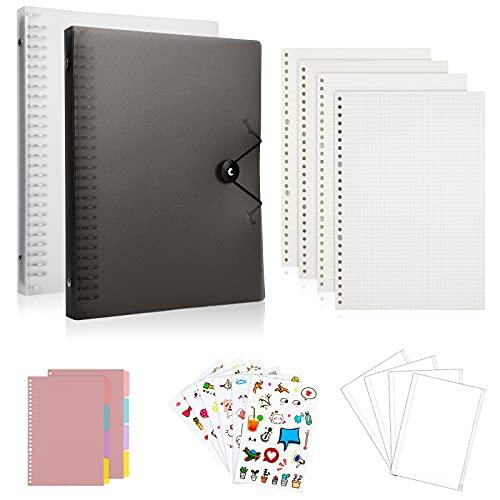 TOUVE B5 Loseblatt Notizbuch, Nachfüllpapier, B5 PVC Notizbuch Ordner, Nachfüllbar, Binder Tagebuch mit 480 Seiten B5-Füllpapier, Binderumschlägen und 8 Trennblätter, Bullet Journal, Tagbuch, Skizze
