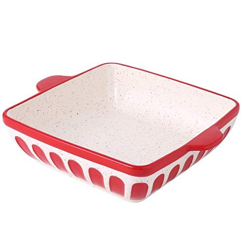 Square Baking Dish 87 inch Ceramic Brownie Baking Pan Cake Pan Baker with Double Handle Red