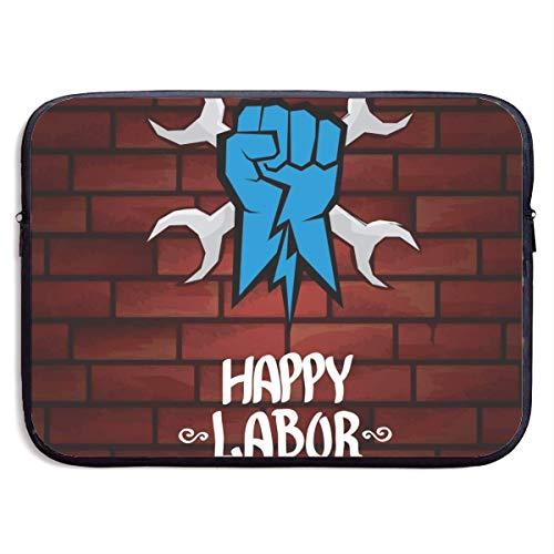 Borsa per laptop 1 maggio - Buona festa del lavoro. Manifesto o striscione felice festa del lavoro di vettore con borsa per laptop a pugno chiuso da 15 pollici
