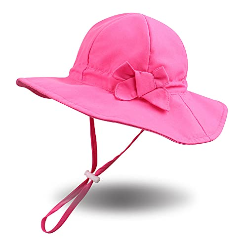 Pesaat Knot Cappello da bambina Cappello da sole a tesa larga UPF 50 Maschera di protezione solare regolabile per bambina da 6 mesi a 8 anni(Rosa rosso,6-12 mesi)