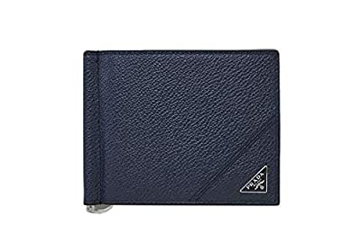 Prada Vitello Micro-grain Leather Money Clip, Baltico 2MN077