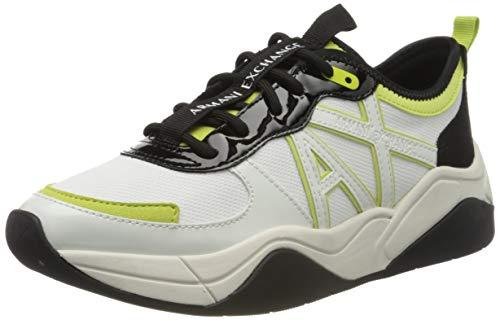 Armani Exchange Damen Sneaker, Weiß (Off White+Black N769), 38 EU