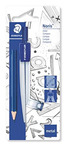Staedtler 550 55 BK schoolcirkel met universele adapter en extra klein potlood op blisterkaart, blauw/zilver
