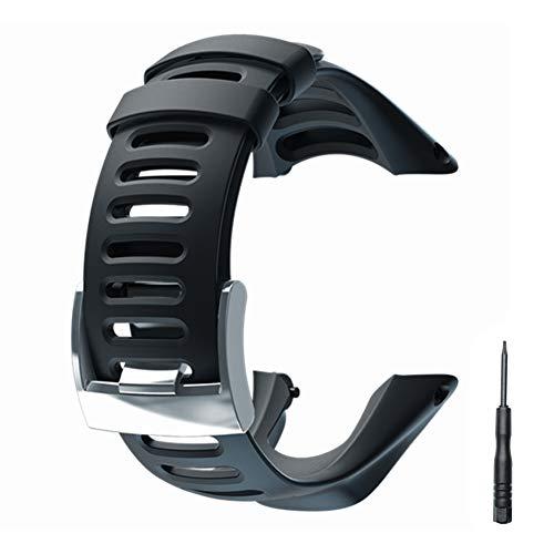JTMM Correa para Reloj de Goma Suave, Color Negro, Repuesto, con Herramienta y Tornillos para SUUNTO Ambit 3 Peak/Ambit 2/1