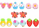 7 Paar Mädchen Kinder Clip auf Ohrringe Schmuck Set mit Obst Tiere Herz