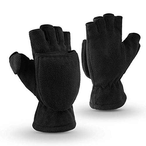 OZERO Winter Gloves 3M Thinsulate Fingerless Convertible Thermal Mittens Insulated Polar Fleece Windproof for Running/Cycling/Walking Dogs Warm for Man and Women (Medium,Black)