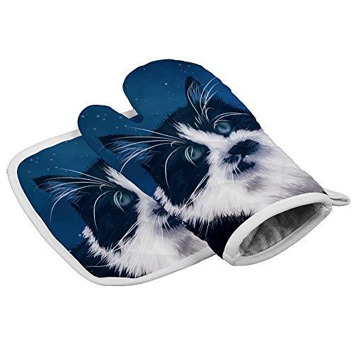 Blue Sky Galaxy - Guantes de horno para microondas, resistentes al calor, aislamiento para horno, microondas, barbacoa, guantes de algodón, con forro interior suave