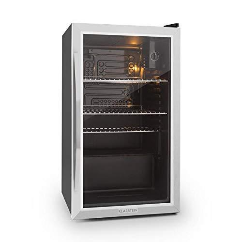 Klarstein Beersafe - Nevera con puerta acristalada, Mininevera, Minibar, Iluminación LED, Acero inoxidable, 5 niveles de frío, 42 dB, 3 rejillas metálicas extraíbles, A+, 85 litros, Negro