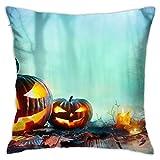 Anime Throw Pillowcase 233 Candle Fall Fog Halloween Jack-O'-Lantern Leaf Pumpkin 18x18 Inches Cotton Cushion Case Home Decoration for Sofa Bedroom Living Room