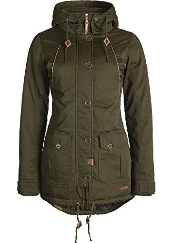 DESIRES Annabelle Damen Übergangsparka Parka Übergangsjacke Lange Jacke mit Kapuze, Größe:S, Farbe:Ivy Green (3797)