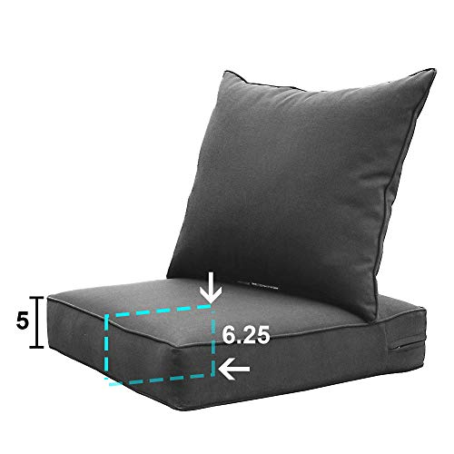 Sewker Outdoor Chair Cushion, 24x24 Deep Seat Patio Furniture Replacement Cushions Set - Modern Gray