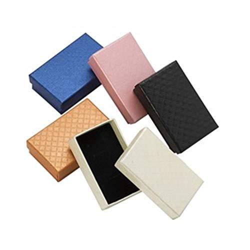 32pcs joyería caja 8x5CM anillo collar de caja for la joyería de múltiples colores joyería Cajas de empaquetado del regalo de exhibición del pendiente Negro Esponja gift (Color : Mixed Colors)