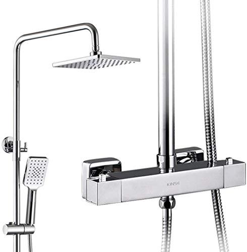Juego de ducha termostático cuadrado Baño Montaje en pared Grifos de ducha de lluvia Juego de baño de ducha con cabezal de ducha