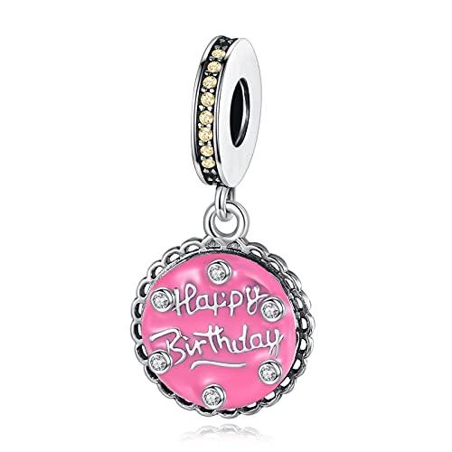 LaMenars Colgante para pulsera de plata 925 con diseño de tarta de cumpleaños, para el Día de la Madre, Plata,