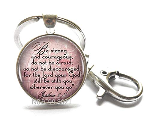 Joshua 1:9 Key Ring Scripture Quote Encouragement Bible Quote Jewelry Bible Verse Key Ring Christian Gift Judaica Courage Faith Hope.XT025 (A)