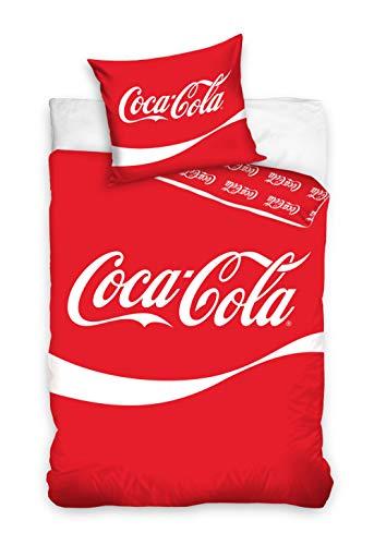 Carbotex Coca-Cola Bettwäsche Doppelseitige Coca Cola Bettbezug 140x200 + 70x90 cm 100{10808d32adc56335f57addb97a0d55383445094f67edfa2bc1e9ea32e91c1dce} Baumwolle Rot, Weiß mit Verschluss
