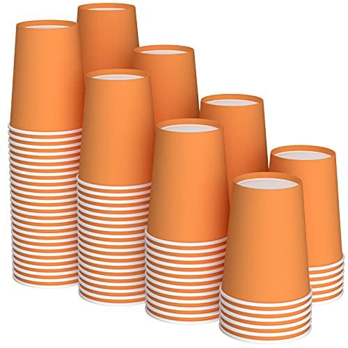 JINLE 120 Piezas Tazas de Papel Naranja Vasos de Desechable Fiesta Tazas de Beber Biodegradables y Compostables para Fiesta de Cumpleaños, Bricolaje, Barbacoa,Café - 250ml
