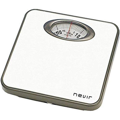 Nevir NVR-3330 BB - Báscula de baño (Analógico, Gris, Color Blanco, 257 mm, 263 mm, 50 mm, 257 x 263 x 50 mm)