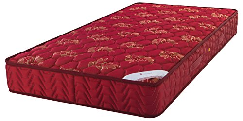Amazon Brand - Solimo 6-inch Single Spring Mattress (Maroon, 72x36x6 Inches)